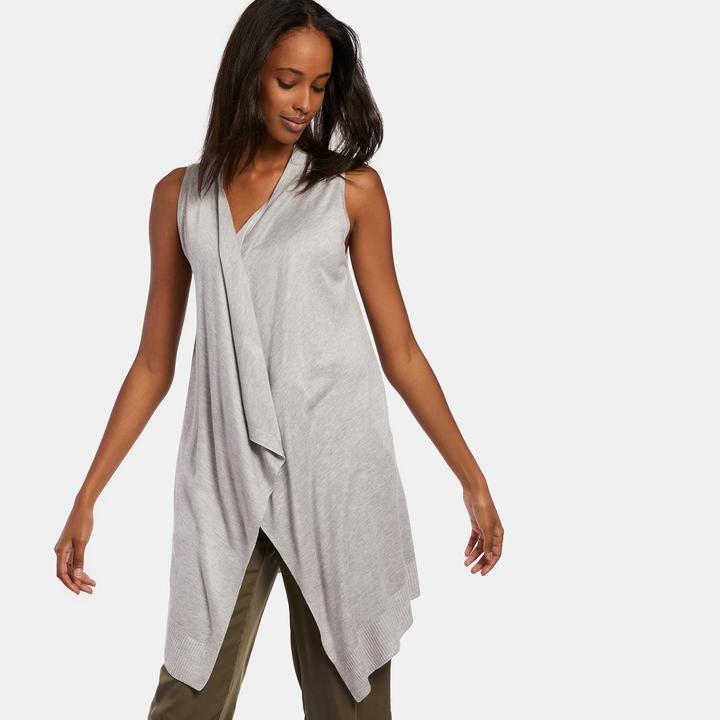 Joan Vass Women's Flyaway Open Front Vest
