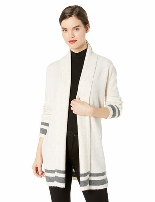 Cupcakes And Cashmere Women's Hank Striped Shawl Collar Cardigan