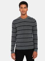 Vince Boiled Cashmere Stripe Crewneck Sweater