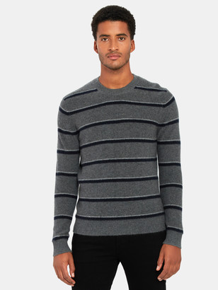 Vince Boiled Cashmere Stripe Crewneck Sweater