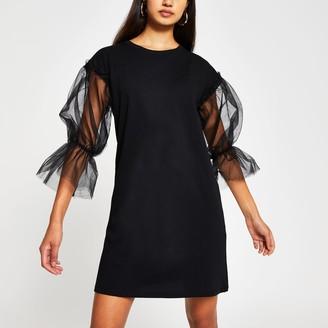River Island Womens Black short sleeve mesh t-shirt dress