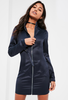 Missguided Blue Satin Long Sleeve D Ring Dress
