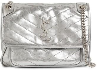 Saint Laurent Niki Monogram Metallic Leather Bag