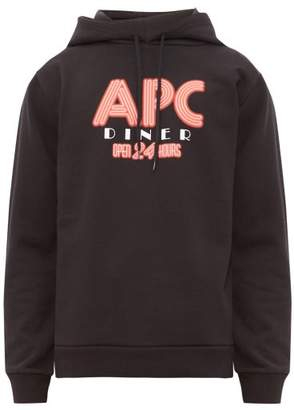 A.P.C. Benito Logo-print Hooded Cotton Sweatshirt - Mens - Black