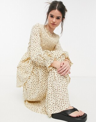 Lost Ink long sleeve maxi dress with tiered skirt and shirred bodice