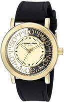 Stuhrling Original Women's Quartz Watch with Gold Dial Analogue Display and Black Silicone Strap 830.02