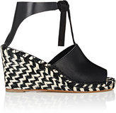 Proenza Schouler WOMEN'S LEATHER & SUEDE WEDGE ESPADRILLE SANDALS-BLACK SIZE 9