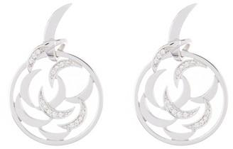 Breuning 14K White Gold Diamond Filigree Dangle Earrings
