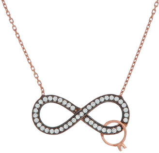 Amorium 18K Rose Gold Over Silver Cz Infinity Love Necklace