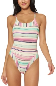 Jessica Simpson Striped Cross-Back One-Piece Swimsuit Women's Swimsuit