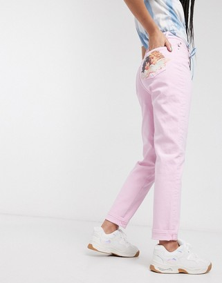 Fiorucci Tara angel patch straight leg jean in pink
