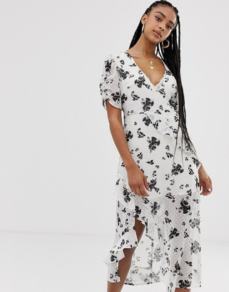 Wild Honey wrap midi dress in floral