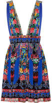 Camilla Chinese Whispers Embellished Printed Silk Crepe De Chine Mini Dress - Bright blue