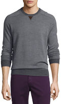 Peter Millar Sueded-Trim Crewneck Sweater, Navy