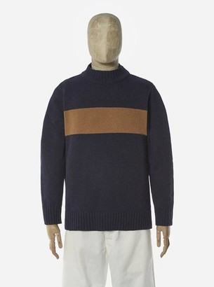 Universal Works Chest Stripe Crew In Navy Sand Soft Wool - M