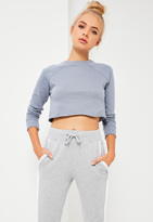 Missguided Petite Grey Cropped Raw Hem Sweater