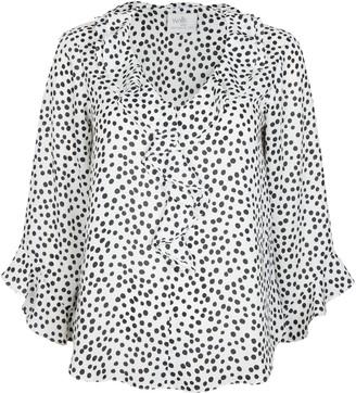Wallis PETITE Monochrome Polka Dot Print Ruffle Blouse