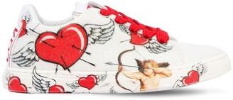 Heart Printed Glittered Sneakers