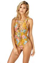 Montce Swim - Gold Floral Lace-Up Denise Austin One-Piece