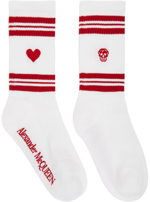 Alexander McQueen White and Red Stripe Socks