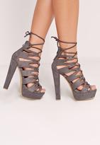 Missguided Laser Cut Platform Sandals Grey