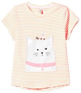 Joules Orange Stripe Cat and Mouse Applique Tee