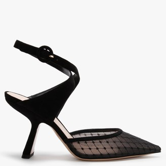 Nicholas Kirkwood Lexi 90MM Black Fishnet Mesh & Suede Strap Heeled Pumps