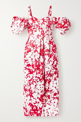 Rosie Assoulin Pleated Cold-shoulder Floral-print Silk-taffeta Midi Dress - Red