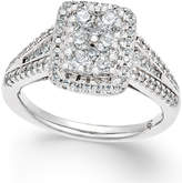 Macy's Diamond Square Cluster Engagement Ring (1 ct. t.w.) in 14k White Gold
