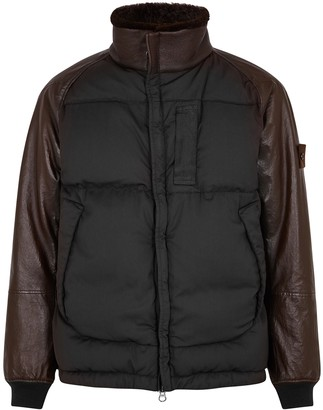 Stone Island Ghost brown quilted panelled jacket