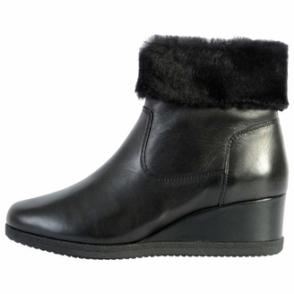 Geox Women's D Anylla Wedge G Ankle Boot Size: 3.5 UK Black