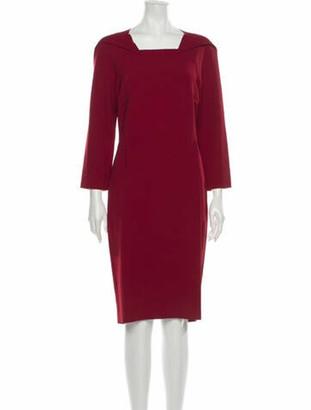 Roland Mouret Square Neckline Knee-Length Dress Red