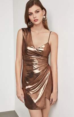BCBGMAXAZRIA Metallic One Shoulder Sheath Dress