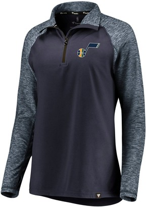 Möve Women's Fanatics Branded Navy/Heathered Navy Utah Jazz Made to Static Performance Raglan Sleeve Quarter-Zip Pullover Jacket