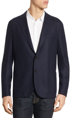 Eleventy Slim-Fit Laser-Cut Notch Lapel Flannel Wool Two-Button Jacket