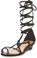 Schutz Morley Lace-Up Leather Gladiator Sandal, Black
