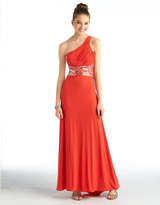 Betsy & Adam One-Shoulder Gown with Beaded Waist