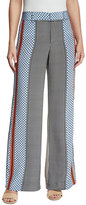 Derek Lam 10 Crosby Mixed-Print Silk Wide-Leg Trousers, Light Pumice