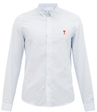Ami Logo-embroidered Striped Cotton-poplin Shirt - Blue