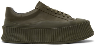 Jil Sander Khaki Leather Platform Sneakers