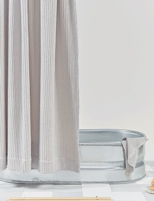 Lulu & Georgia Hawkins New York Simple Waffle Shower Curtain, Light Gray