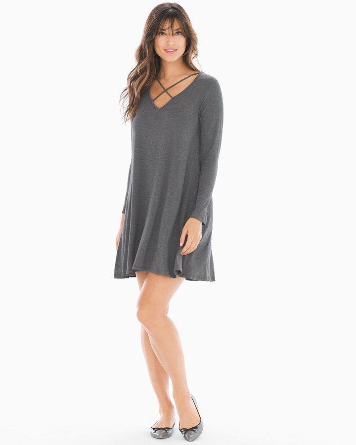 Soma Intimates Crisscross Long Sleeve Short Dress Charcoal
