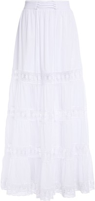 Charo Ruiz Ibiza Emma Crocheted Lace-paneled Cotton-blend Voile Maxi Skirt