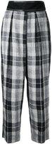 CITYSHOP plaid cropped trousers - women - Linen/Flax - 36