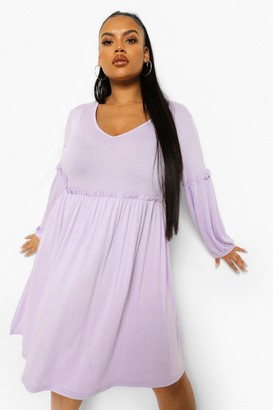 boohoo Plus Ruffle Jersey Smock Dress