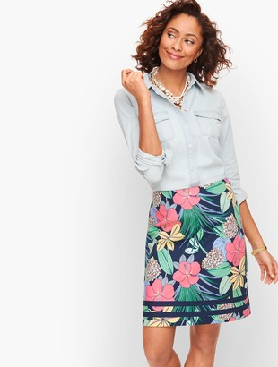 Talbots Cotton Canvas A-Line Skirt - Hibiscus Print