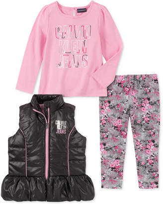 Calvin Klein Little Girls 3-Pc. Ruffled Vest, Logo Top & Printed Leggings Set