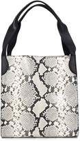 Rochas Printed Python Leather Tote in Medium Grey