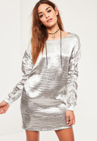 Missguided Silver Gather Sleeve Satin Oversized Dress