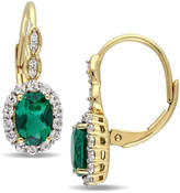 Zales Oval Lab-Created Emerald, White Topaz and Diamond Accent Frame Drop Earrings in 14K Gold